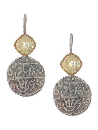 Lemon Quartz Silver Coin Earrings
