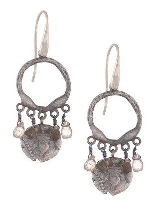 Smoky Quartz Silver Coin Earrings