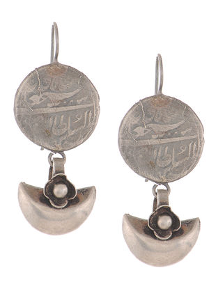 Coin Silver Earrings with Floral Design