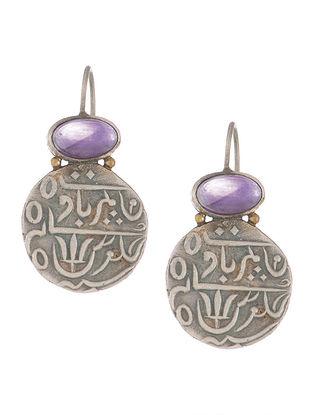 Amethyst Coin Silver Earrings
