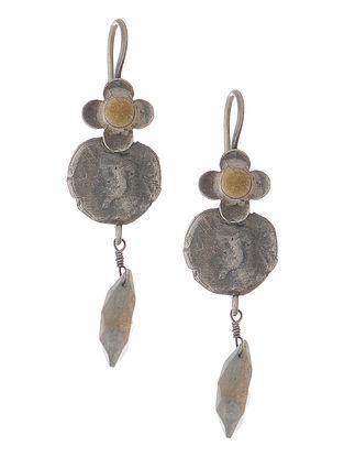 Labradorite Dual Tone Coin Silver Earring