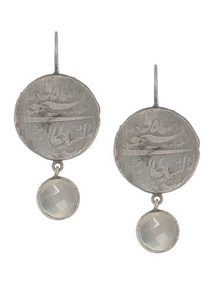 Chalcedony Coin Silver Earring