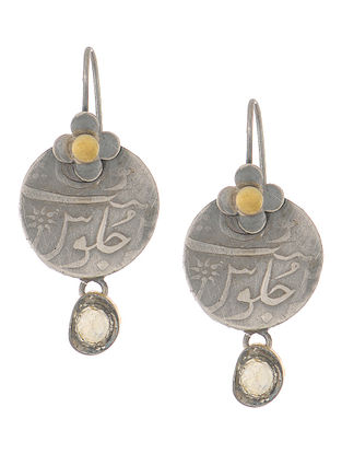 Dual Tone Coin Silver Earrings with Floral Design