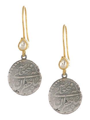 Crystal Dual Tone Coin Silver Earrings
