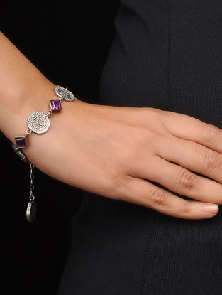 Amethyst Coin Silver Bracelet