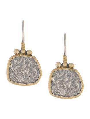 Dual Tone Coin Silver Earrings