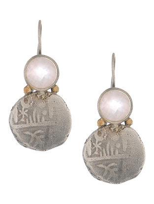 Rose Quartz Coin Silver Earrings