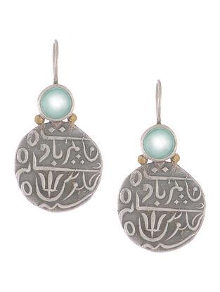 Chalcedony Coin Silver Earrings