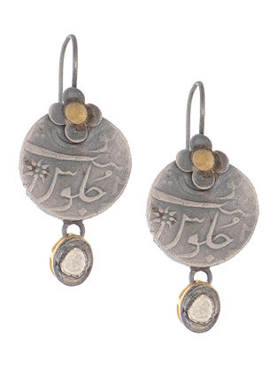 Crystal Dual Tone Coin Silver Earrings with Floral Design