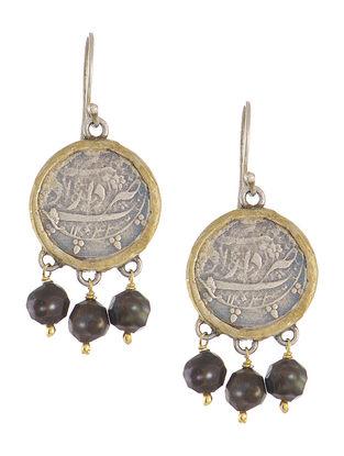 Fresh Water Pearls Dual Tone Coin Silver Earrings