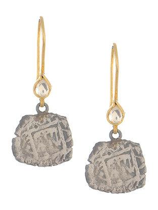 Crystal Dual Tone Silver Coin Earrings