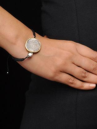 Crystal Black Thread Dual Tone Coin Bracelet