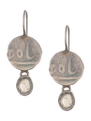 Crystal Silver Coin Earrings