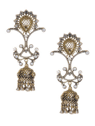 Crystal Gold Tone Silver Earrings with Pearls