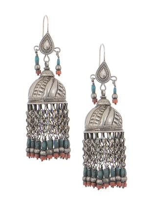 Red-Blue Tribal Silver Jhumkis