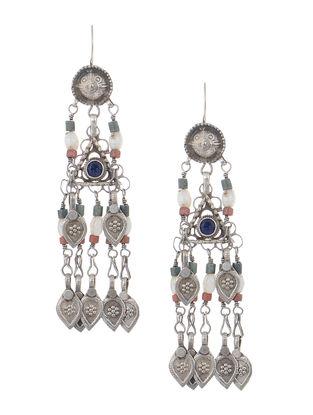 Red-White Tribal Silver Earrings