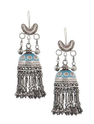 Blue Enameled Tribal Silver Jhumkis