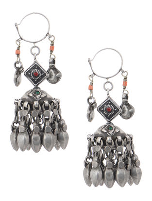 Red Tribal Silver Jhumkis