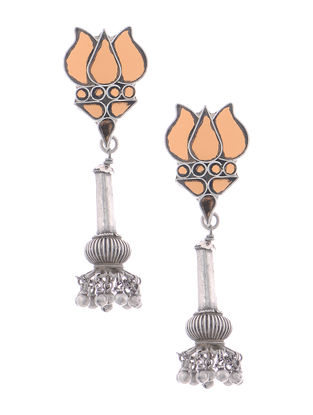 Orange Glass Tribal Silver Earrings with Lotus Design