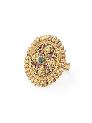 Purple-Green Gold Tone Silver Ring (Ring Size -8)