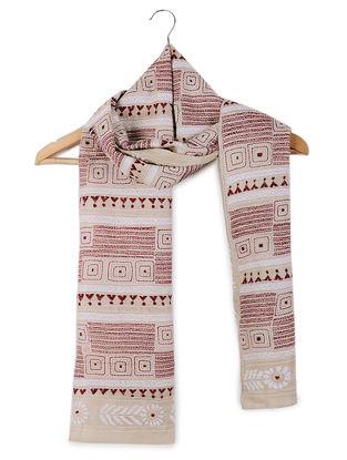 Beige-Red Kantha-embroidered Tussar Silk Stole