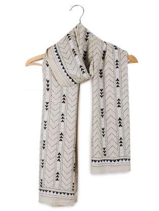 Beige-Black Kantha-embroidered Tussar Silk Stole