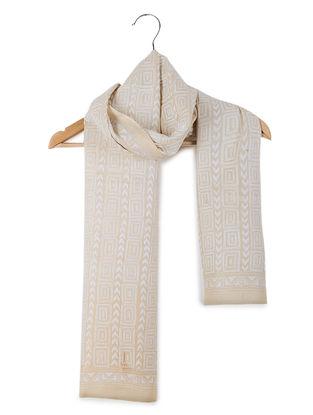 Beige-Ivory Kantha-embroidered Tussar Silk Stole