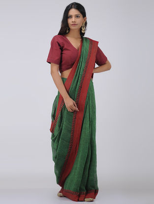 Red-Green Linen Saree with Woven Border