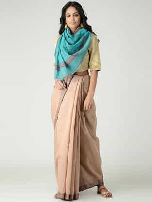 Beige-Blue Silk Cotton Saree with Woven Border