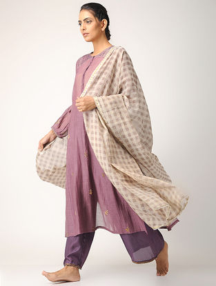 Ivory-Charcoal Checkered Cotton Dupatta