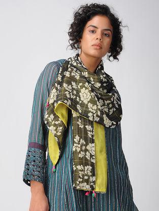 Black-Green Printed Cotton Silk Scarf