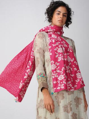 Pink Printed Silk Scarf