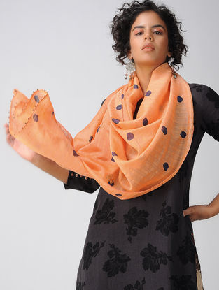 Peach Embroidered Cotton Silk Stole