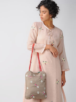 Brown Hand-embroidered Silk Tote Bag