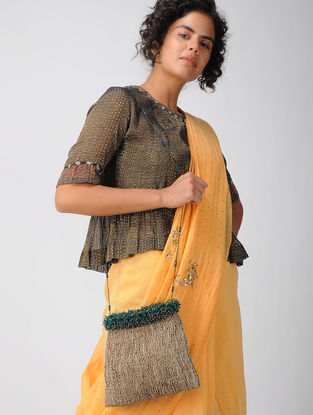 Brown Chanderi Potli Bag with Zari Work