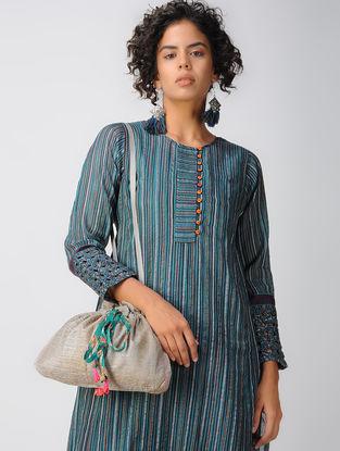 Grey Tussar- Chanderi Sling Bag with Tassels