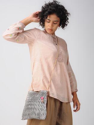 Grey Hand-embroidered Linen- Mashru Sling Bag