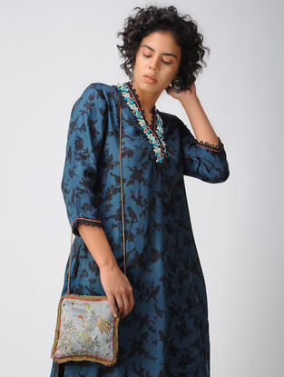 Grey Embroidered Tussar- Mashru Sling Bag