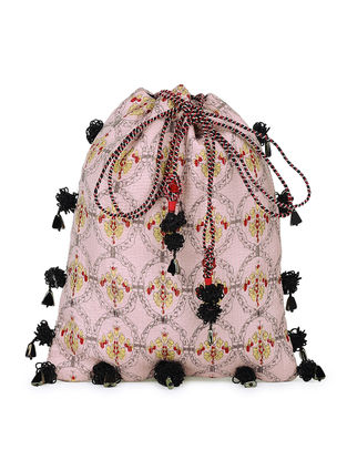 Pink-Multicolored Handcrafted Silk Potli with Tassels