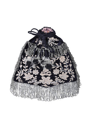 Black Hand-embroidered Silk Potli with Tassels