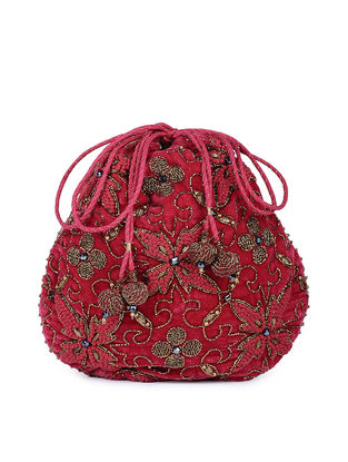 Fuchsia Hand-embroidered Silk Potli with Tassels