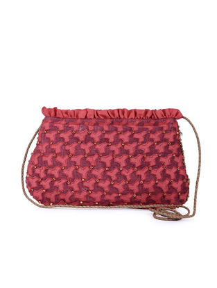 Red Handcrafted Silk Sling Bag with Applique work