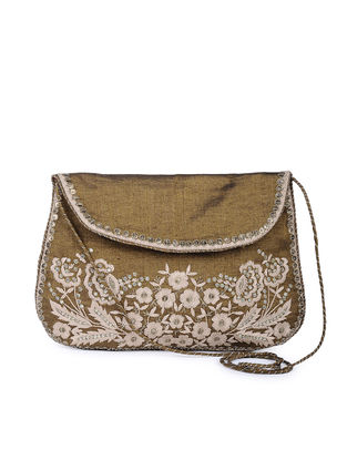 Gold-White Thread-embroidered Tissue Silk Sling Bag