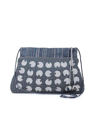 Blue Hand-embroidered Mashroo Silk Sling Bag