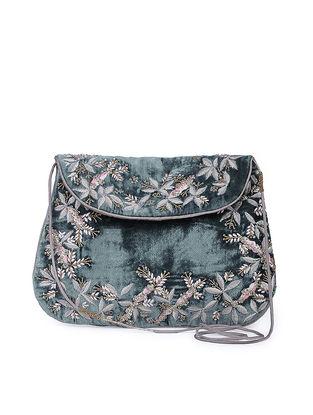 Teal Hand-embroidered Velvet and Silk Sling Bag
