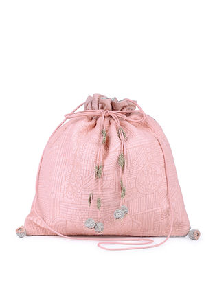 Pink Handcrafted Silk Potli with Tassels