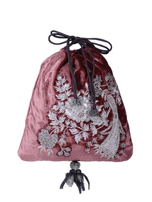 Burgundy Hand-embroidered Velvet and Silk Potli with Tassels