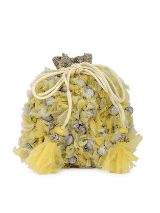 Yellow Handcrafted Silk Potli with Tassels
