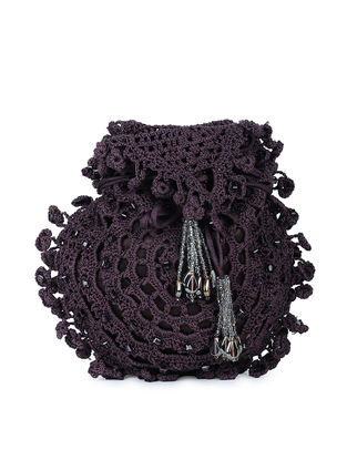 Purple Hand-Crochet Mashroo Silk Polti with Tassels