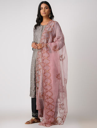 Pink Silk Dupatta with Embroidery